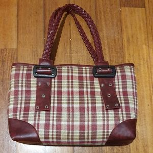 Women's red checked hand bag with braided handles